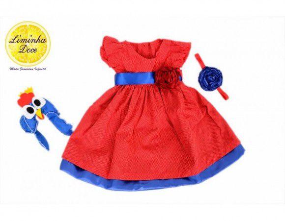Vestido Tema da Galinha Pintadinha Vermelho - Infantil