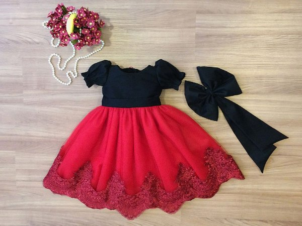 Vestido de Tule e Renda Vermelha - Infantil
