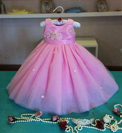 Vestido para Daminha Rosa - Infantil