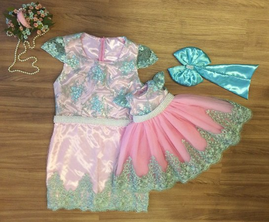 Vestido Verde e Rosa - Tal Mãe Tal Filha