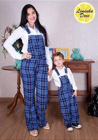 Macacão Xadrez Azul - Tal Mãe Tal Filho