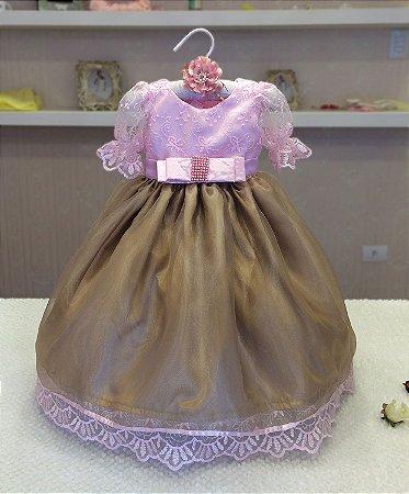 Vestido Dourado com Rosa  - Infantil