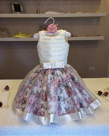 Vestido de Daminha Branco com Floral Rose - Infantil
