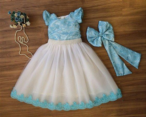 Vestido de Daminha Azul com Renda Bordada - Infantil