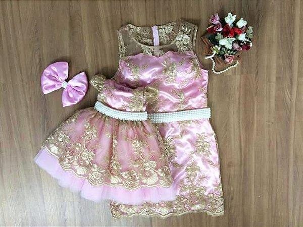 Vestido Dourado e Rosa - Tal Mãe Tal Filha