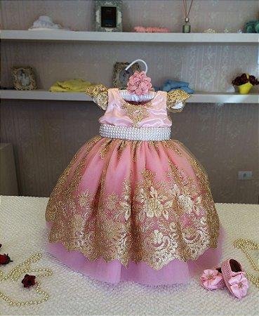 Vestido para Daminha de Luxo Rosa e Dourado - Infantil