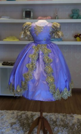 Vestido Tema da Rapunzel - Infantil