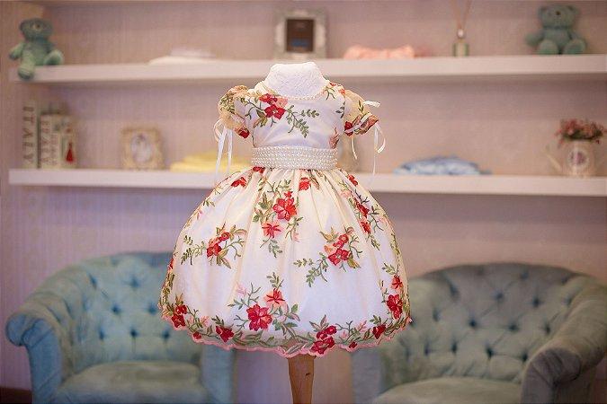 Vestido de Tule Bordado - Infantil