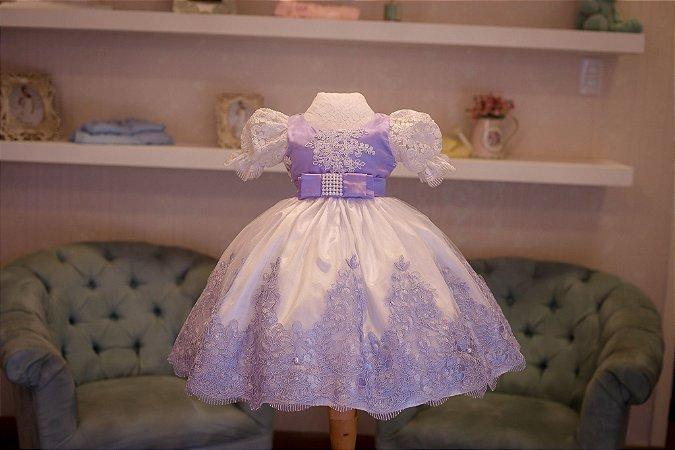 Vestido de Festa Lilas e Branco - Infantil