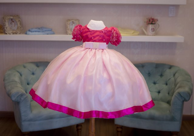 Vestido de Festa Pink e Rosa - Infantil