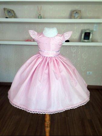 Vestido de Princesa Rosa - Infantil
