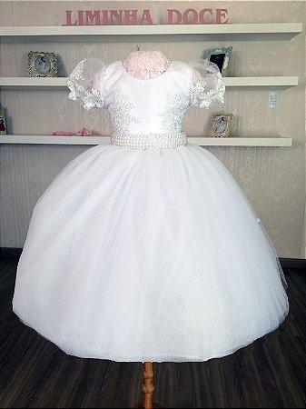 Vestido de Daminha Branco com Renda  - Infantil