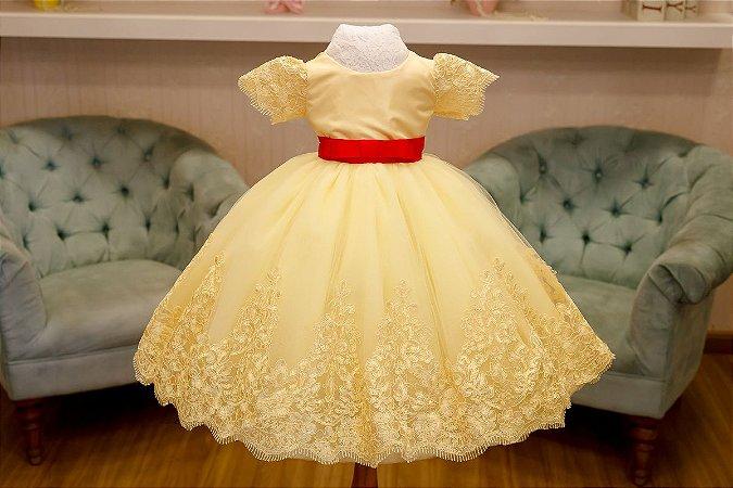 Vestido de Daminha Tule Francês Amarelo - Infantil