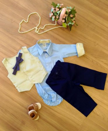 Conjunto de Pajem Azul com Colete - Infantil