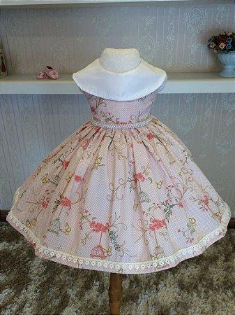 Vestido Floral Rosa com Renda - Infantil