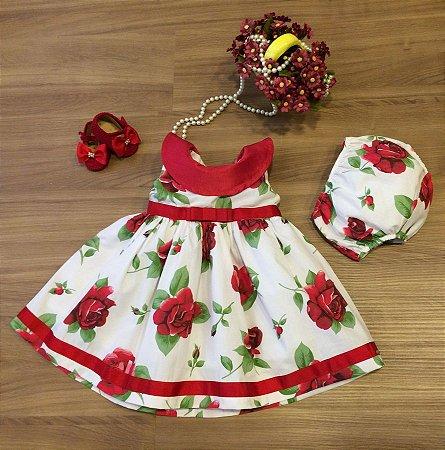 Vestido Floral com Tapa Fralda - Infantil