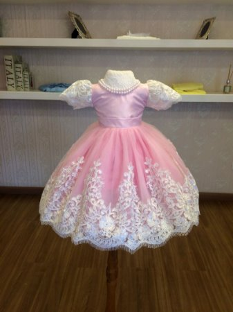 Vestido de Festa Rosa e Branco