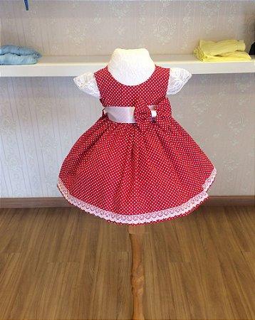 Vestido Vermelho com Bolinhas Brancas - Infantil