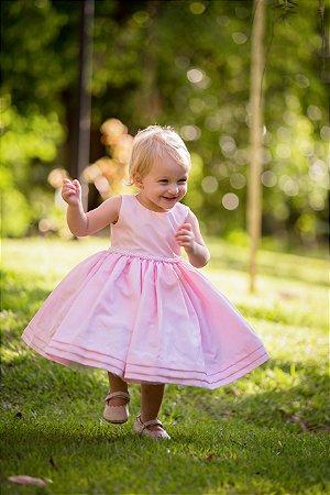Vestido de Tafeta Rosa Bebe - Infantil