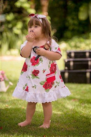 Vestido Branco Floral - Infantil