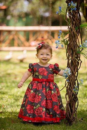 Vestido Preto Floral Vermelho - Infantil