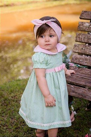 Vestido Branco e Verde Xadrez - Infantil