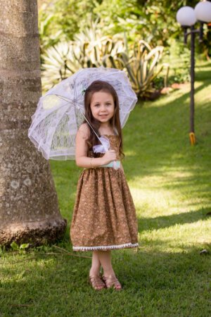 Vestido Marrom Floral - Infantil