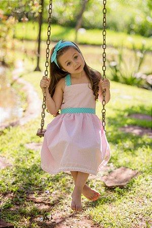 Vestido Rosa e Branco Xadrez  - Infantil