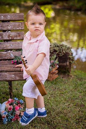 Conjunto Camisa Xadrez e Shorts - Infantil