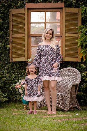 Vestido Ombro a Ombro Preto Floral - Mãe e Filha