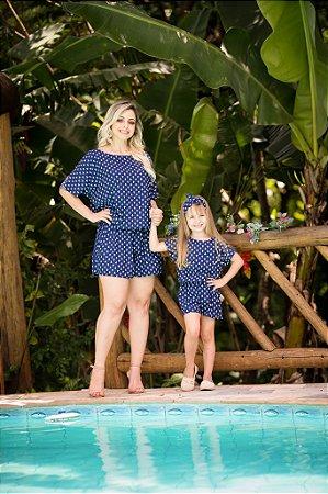 Macacão Azul Mãe e Filha