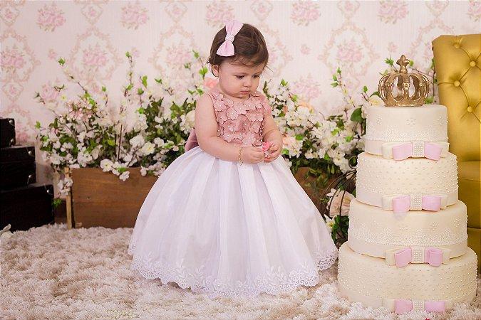 Vestido Luxo Rose e branco - Infantil
