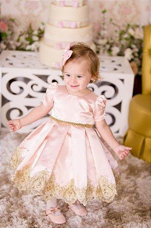 Vestido Carrossel Rosa e Dourado - Infantil