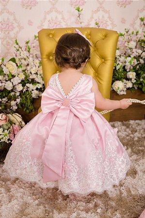 Vestido Rosa com Renda Branca - Infantil