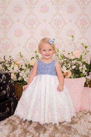 Vestido Luxo Azul e branco - Infantil