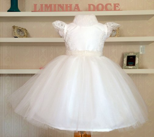 edf5f2e0d6 Vestido Branco Luxo - Infantil - Liminha Doce - Vestidos de Festa ...