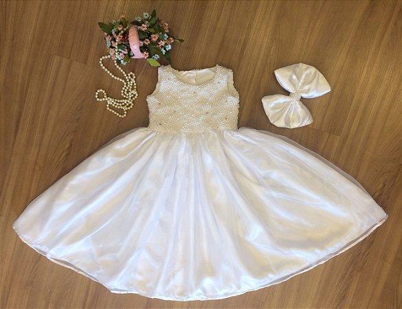 Vestido Branco com Bordado Perola - Infantil