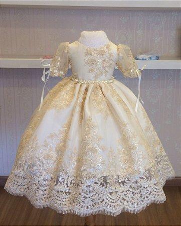 Vestido Branco com Renda Dourada- Infantil - Liminha Doce - Vestidos ... 21dbae2e316