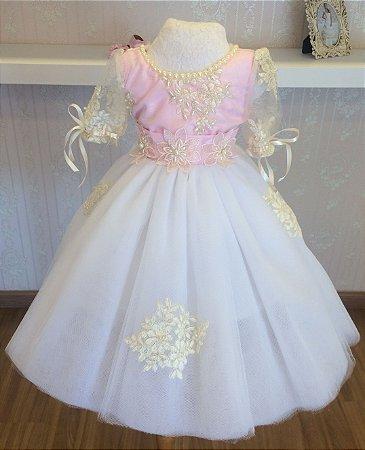 Vestido Rosa e Branco Realeza - Infantil