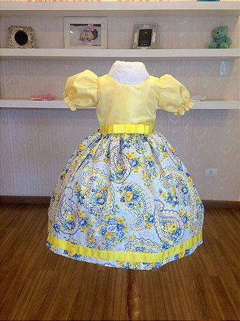 Vestido Amarelo e Floral - Infantil