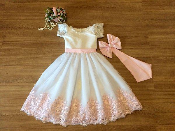 979a22c2e Vestido Branco e Rosinha - Infantil - Liminha Doce - Vestidos de ...