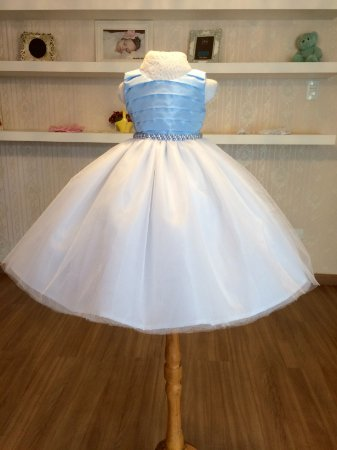 Vestido Azul Claro e Branco - Infantil