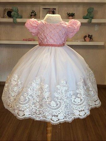 Vestido de Daminha Branco e Rosa- Infantil - Liminha Doce - Vestidos ... 97ff35fe454