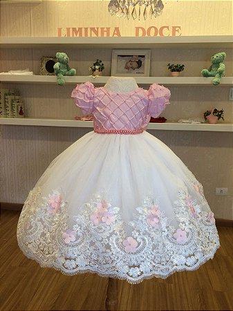 Vestido Branco e Rosa para Daminhas - Infantil
