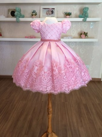 Vestido de Luxo Rosa para Daminhas de Aliança - Infantil