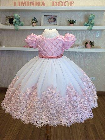 Vestido de Luxo Rosa para Madrinhas de Aliança - Infantil