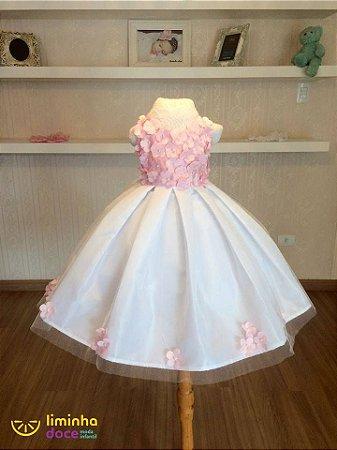 Vestido Branco e Rosa - Infantil - Liminha Doce - Vestidos de Festa ... 1fd393bf863