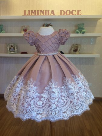 Vestido de Daminha de Honra Rosa - Infantil