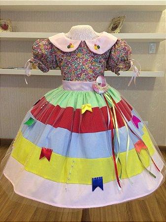 Vestido caipira para festa Junina - Infantil