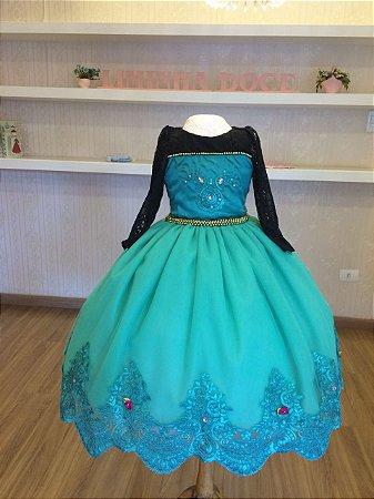 Vestido da Elsa  Frozen Forever de Luxo - Infantil